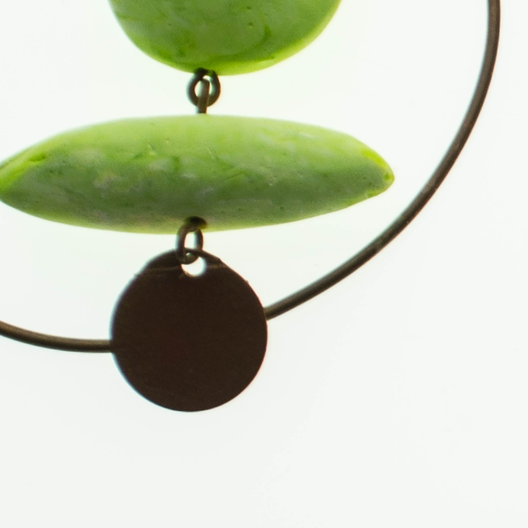 Contemporary Handmade Fluro Green Resin and Recycled Copper Hoop Earrings
