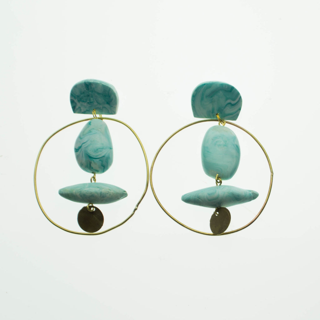 Contemporary Handmade marbled aqua and brass earrings