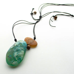 Contemporary handmade adjustable resin pendant
