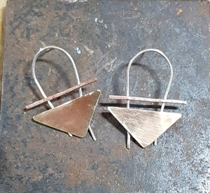 Brass & copper hanging triangle studs