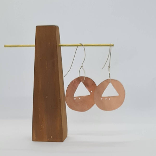 Triangle cut out Disc earrings