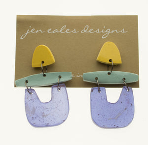 Contemporary handmade blue, yellow and purple u shaped dangle earrings