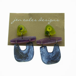 Contemporary handmade green, black and purple u shaped dangle earrings