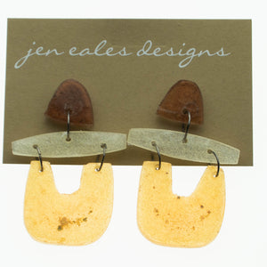 Contemporary handmade copper, gold and silver u shaped dangle earrings