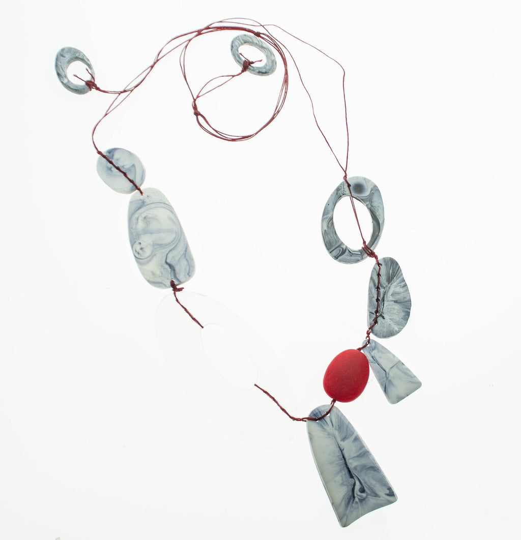 Contemporary grey marbled resin with recycled red and clear acrylic adjustable necklace