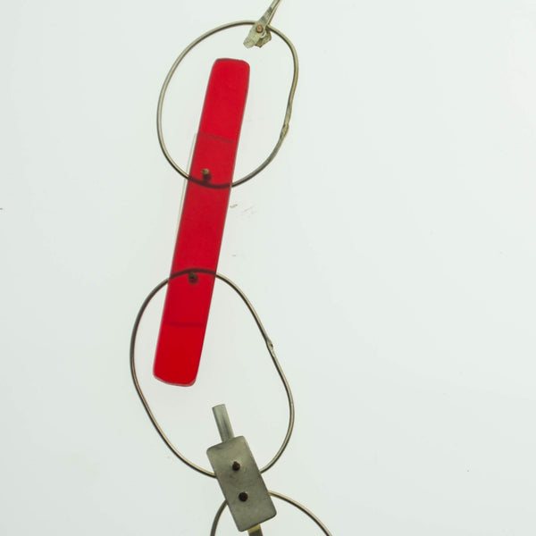 Contemporary Sterling silver with recycled red and clear acrylic necklace