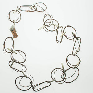 Contemporary large copper loops with sterling silver links