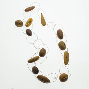 Australian timber beads linked with sterling silver hoops