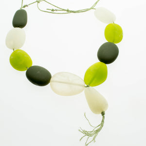 Green , green and cloudy resin adjustable necklace