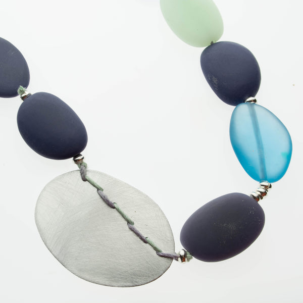 Blue, mint, slate, sterling silver and aluminium adjustable necklace