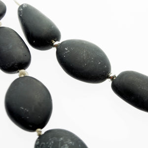Smoky black resin and sterling silver adjustable necklace