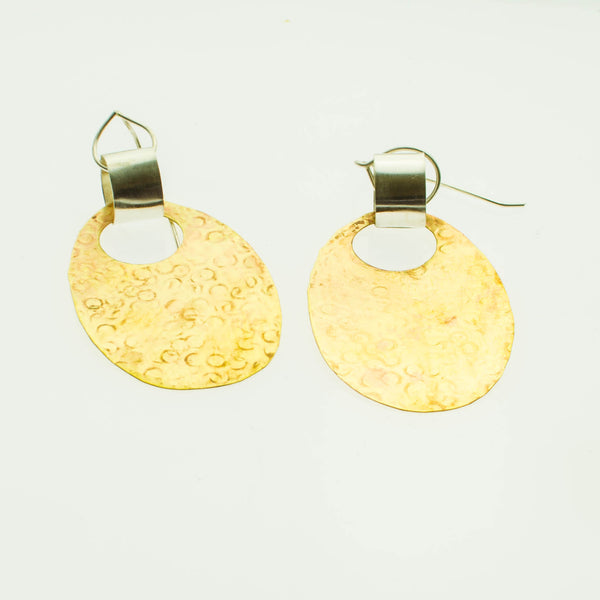 Brass and sterling silver pendant earrings