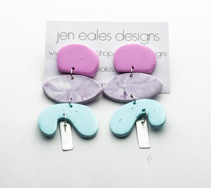 Contemporary handmade triple stacked pink, purple and blue earrings