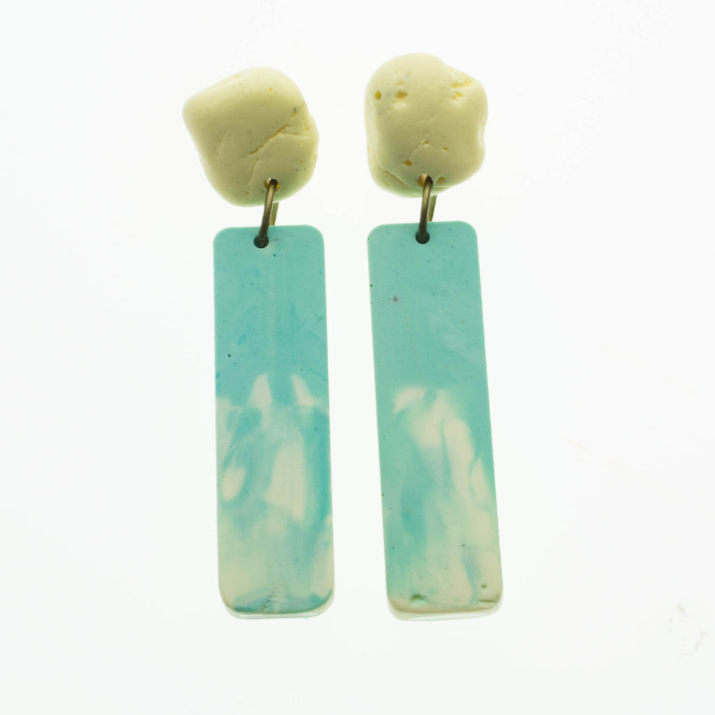 Contemporary Handmade Blue, White and Yellow Pebble Dangle Resin Earrings
