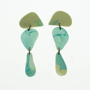 Contemporary Handmade Blue and Lemon Triple Dangle Resin Earrings