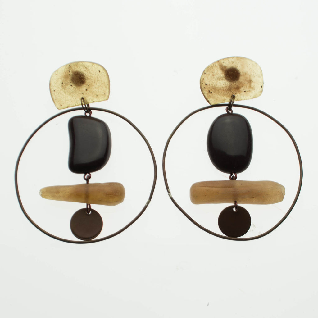 Contemporary Chocolate Brown and Copper Hoop Resin Earrings
