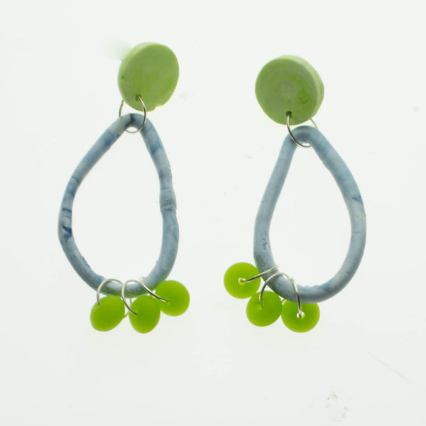 Marbled blue and lime green resin earrings