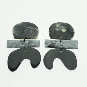 Contemporary, fun black stacked parabola earrings