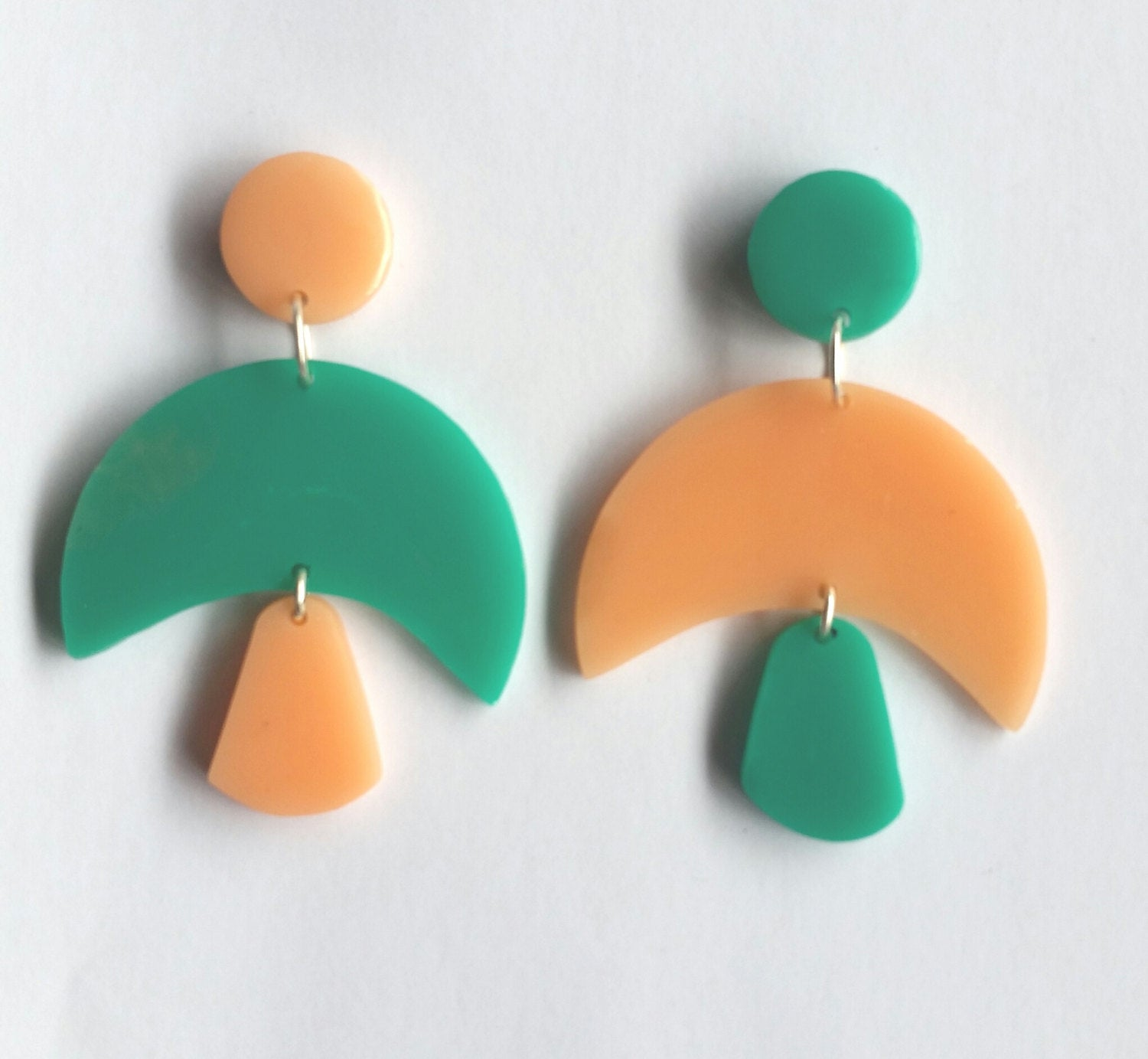 Contemporary Handmade Teal and Peach Totem Resin Dangle Earrings