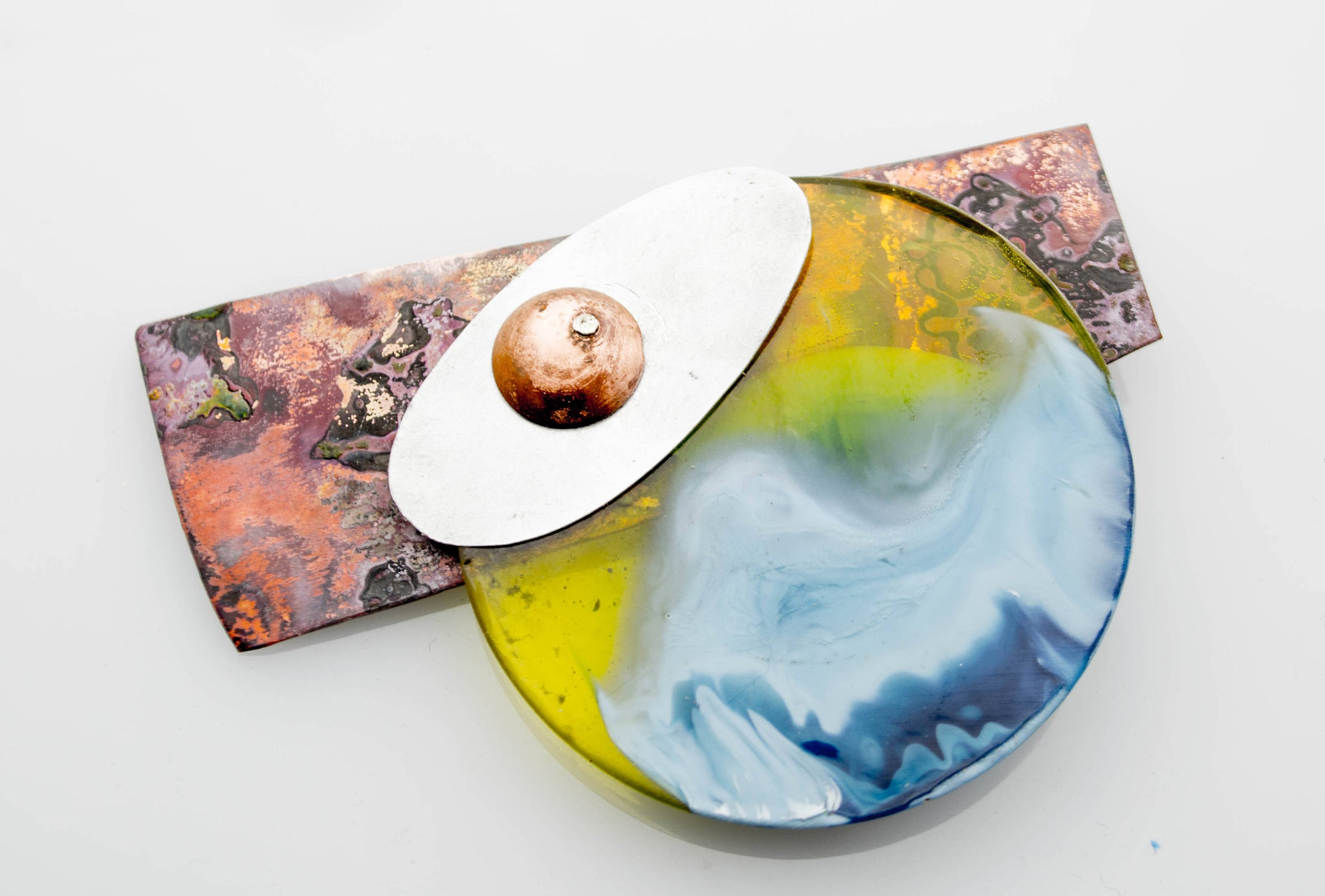 Contemporary Handmade Multi Coloured Resin, Copper and Aluminium Brooch