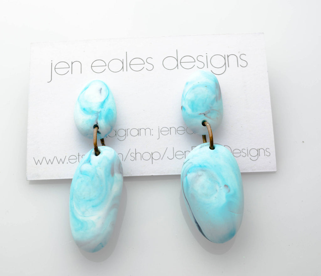 Contemporary Handmade Marbled Blue Resin Pebble Dangle Earrings