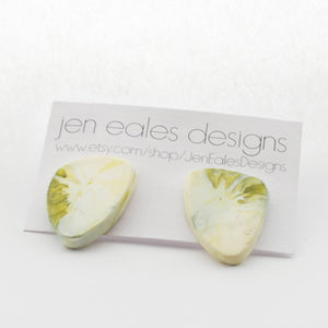 Contemporary Handmade Avocado Green and White Resin Stud Earrings