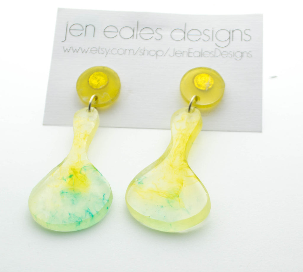 Contemporary handmade clear with aqua and green swirls resin hourglass earrings