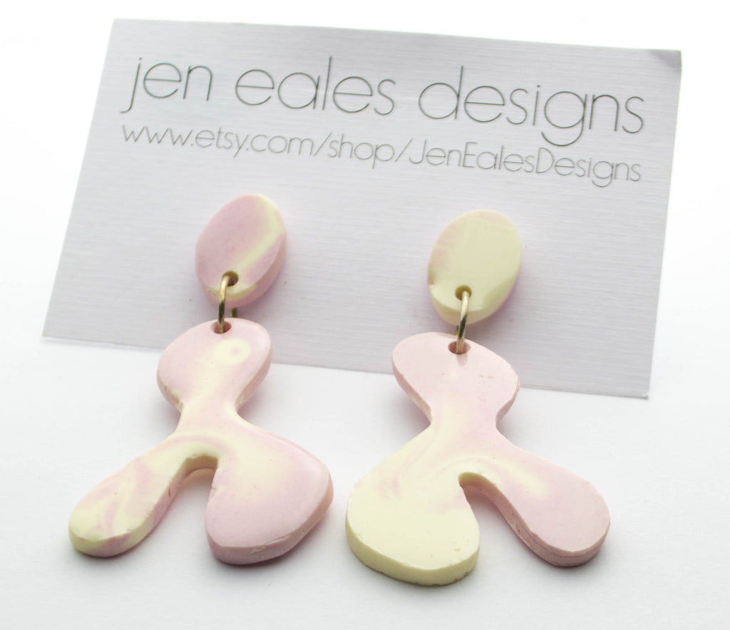 Contemporary handmade pink and white lambda resin earrings