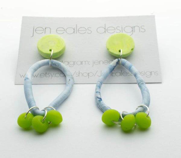 Contemporary Handmade marbled blue and lime green resin earrings