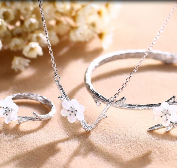 Sakura Style Set Open Tail Ring Bracelet Necklace