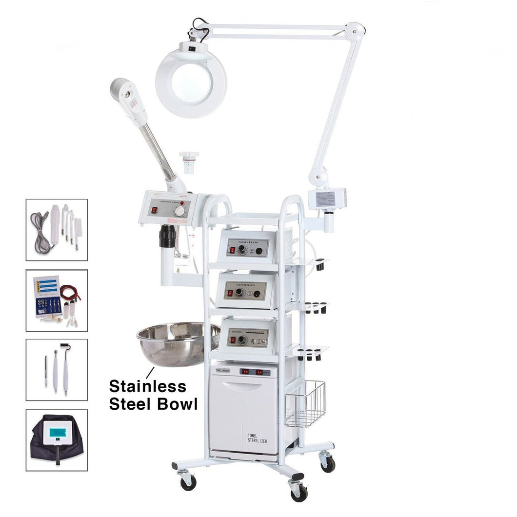 Facial Medical Workstation Multifunction Facial Machine Ozone Aromatherapy Steamer Microdermabrasion eMark Beauty 11 in 1 T3