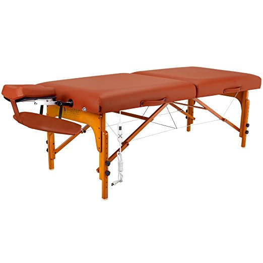 Massage Table Free Shipping Master Massage Santana Therma Top Memory Foam Portable Massage Table Package, Mountain Red, 31 Inch