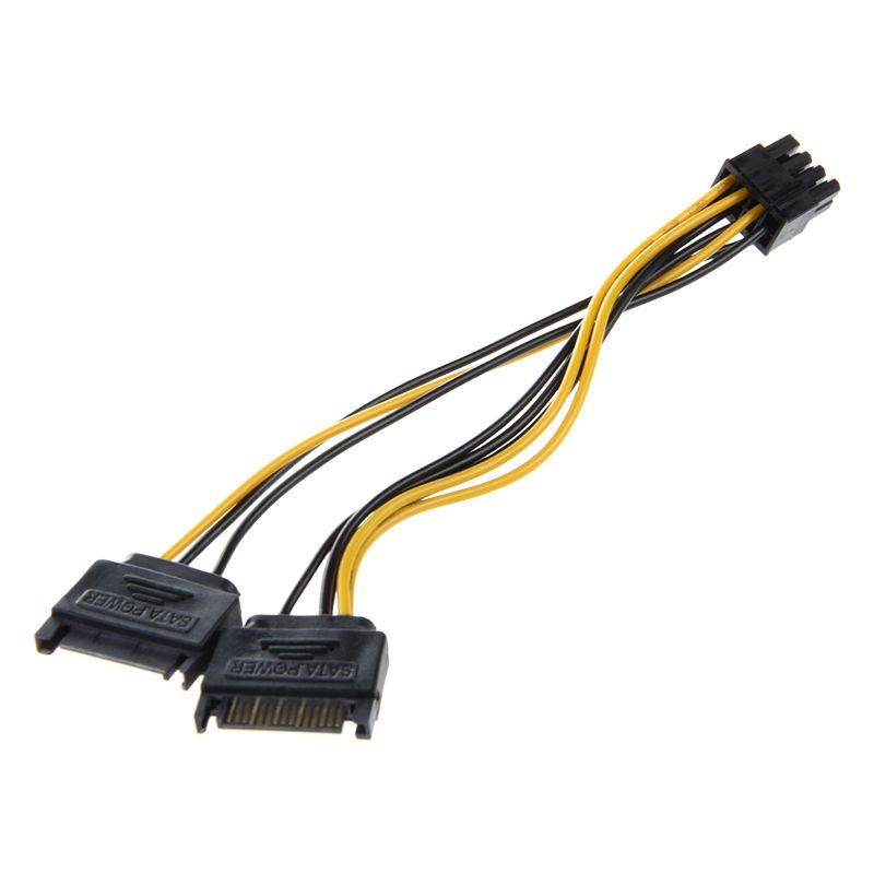 Dual 15 Pin SATA Male to PCIE 8Pin(6+2) Male Video Card Power Cable W6V9 O8