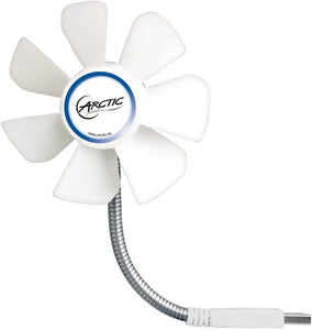 ARCTIC Breeze Mobile - Mini USB Desktop Fan with Flexible Neck I Portable Desk Fan for Home, Office, Silent USB Fan, Fan Speed: 1700 RPM - White