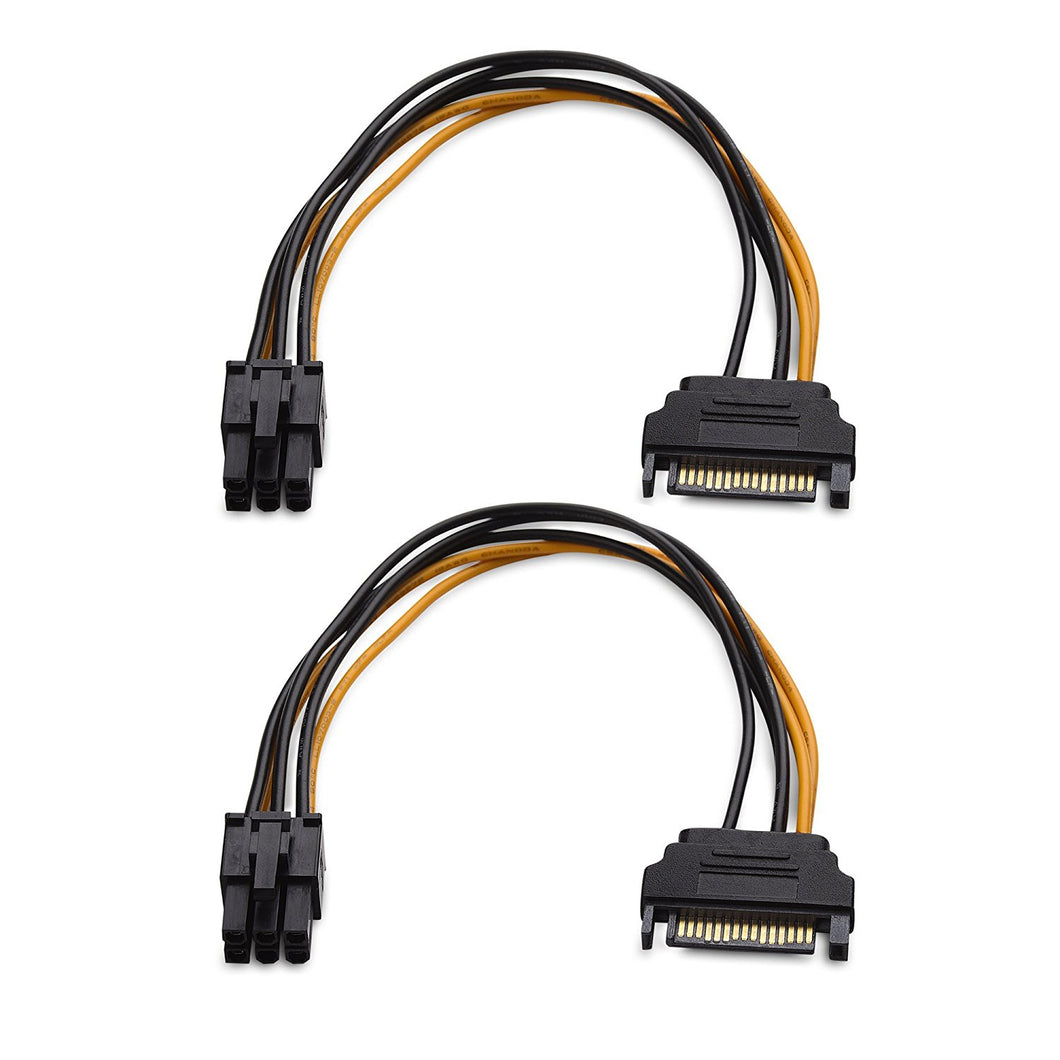 (2-Pack) 6 Pin PCIe to SATA Power Cable - 6 Inches