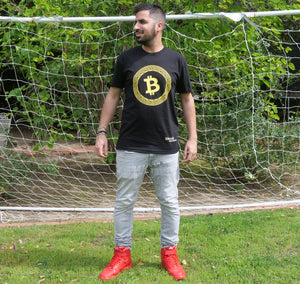 Bitcoin Merch Orange Bitcoin Circle T-Shirt Black