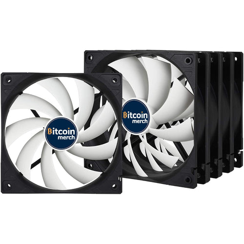 Bitcoin Merch Value Pack - 5X 120 mm Standard Case Fan, Five Pack, Low Noise, Very quiet motor, Computer, Fan Speed: 1350 RPM - Black/White