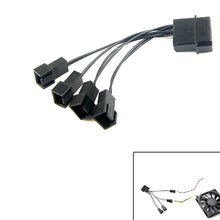 12V Molex To 4 Way 3 Pin Computer Power Multi Fan Splitter Adapter Cable BK