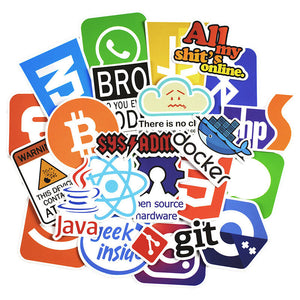 50 Pcs Cool Stickers Internet Bitcoin Programming Language Stickers