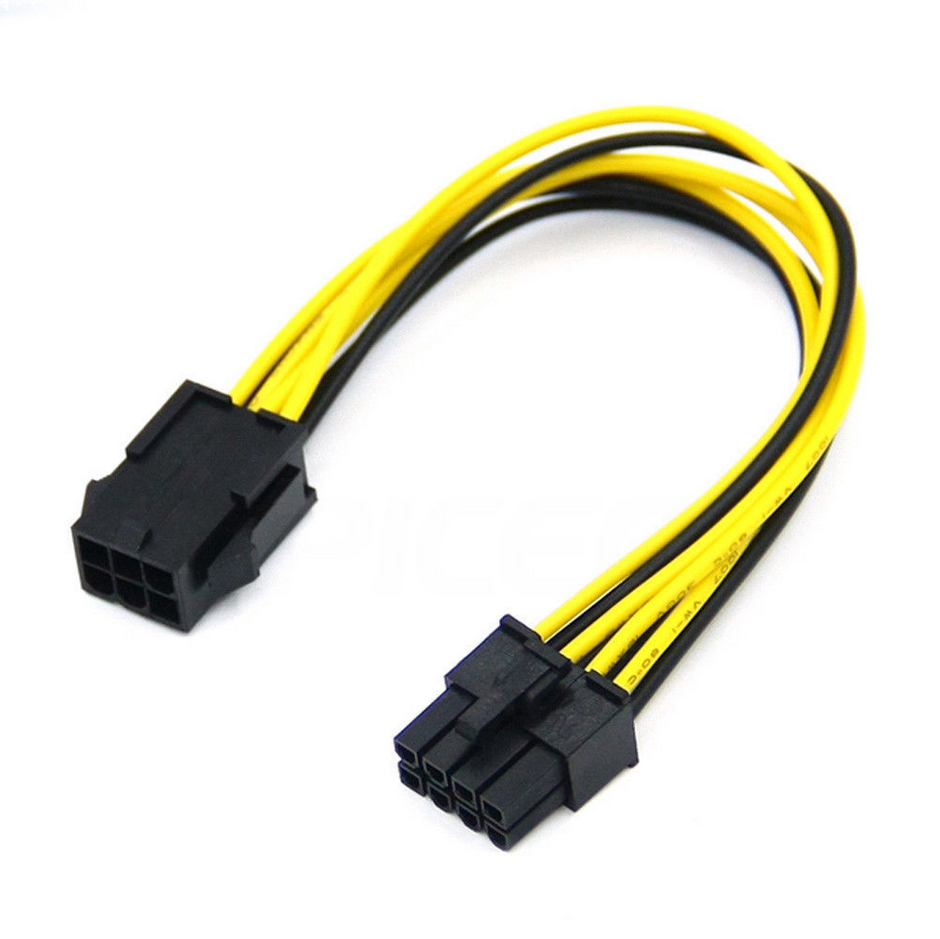 30mm 6pin to 6pin PCIe Pci-express Video Card Power Cable for GPU Yellow - Black