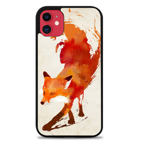 Watercolor art orange red fox animal F0246 iPhone 11 Pro Max Case
