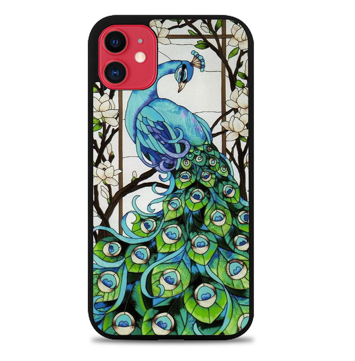 peacock stained glass X9167 iPhone 11 Pro Max Case