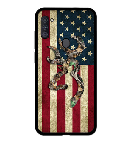 Browning Deer Real Tree Camo USA Flag L1395 Samsung Galaxy A11 Case