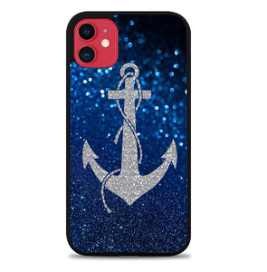 Blue glitter anchor V0319 iPhone 11 Case