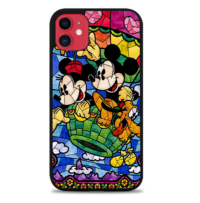 DISNEY MICKEY & MINNIE MOUSE STAINED GLASS V0102 iPhone 11 Case