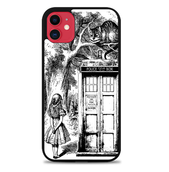 Alice In Wonderland And Cat On Doctor Who Box V1378 iPhone 11 Case