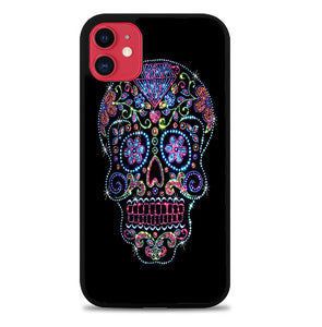 SUGAR SKULL CROW HONEY BIRD FLOWER V1723 iPhone 11 Case