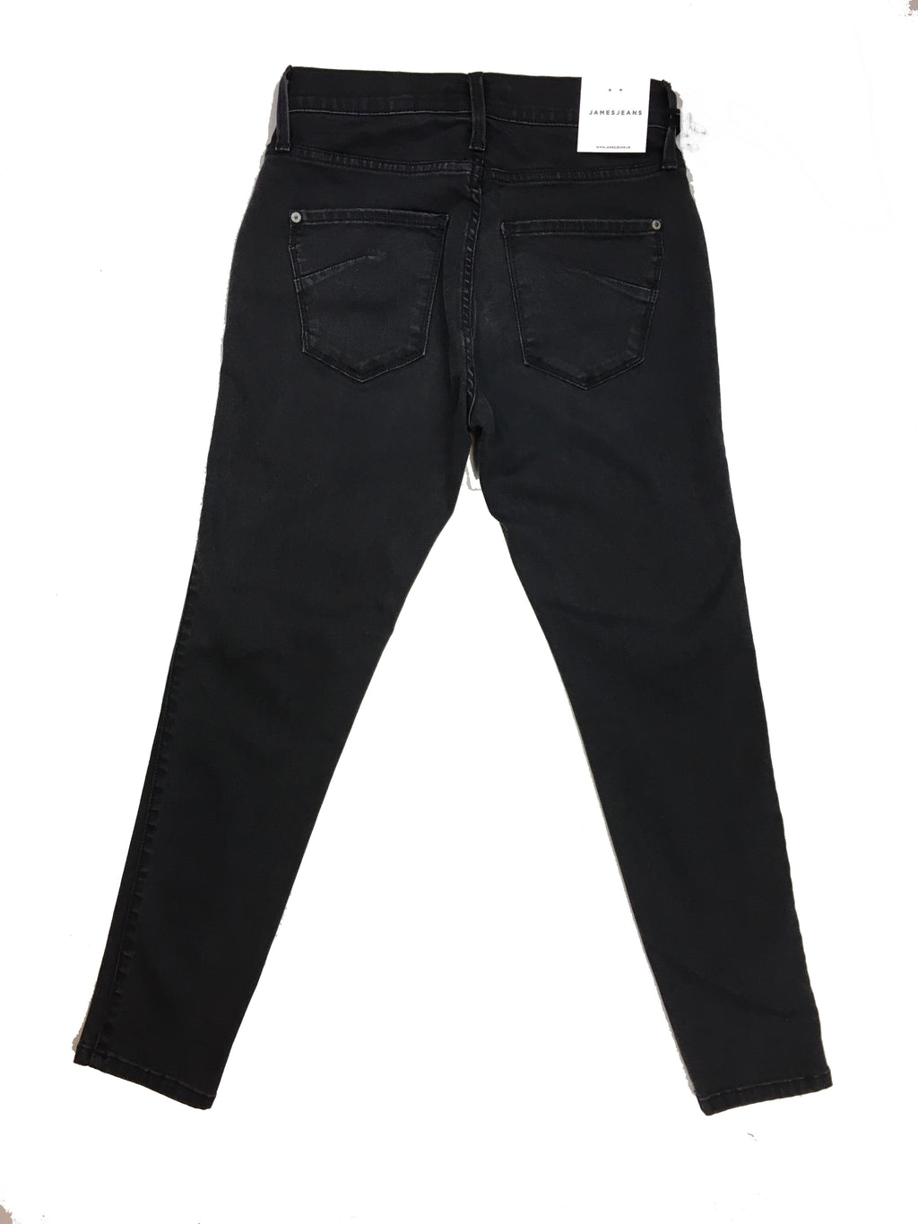 James Jeans Womens Twiggy Skinny Ankle Jean with Zipper in Blacked Out