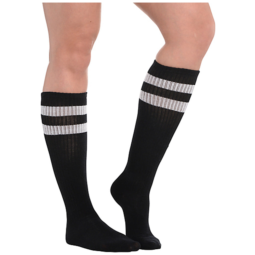 Black Striped Knee Socks