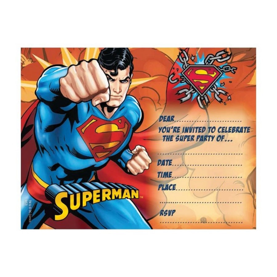 Superman Invitations 8pk - Party Savers
